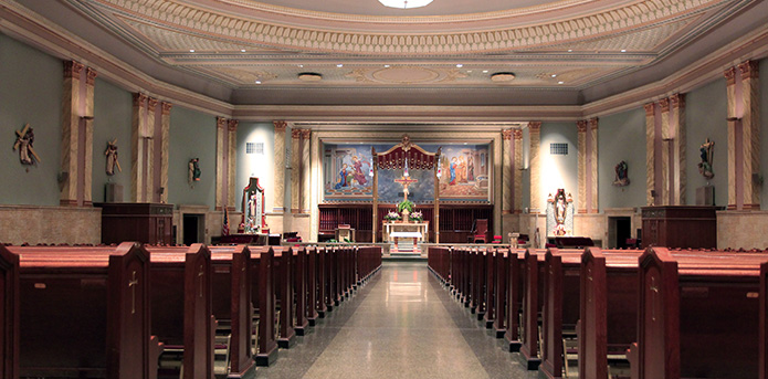 From the back of the Church looking down the center aisle towards the altar
